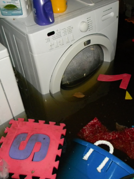 washing machine in a flooded basement